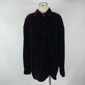 Jones New York Sz 8 Silk Purple Velour Soft Blouse